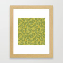 yellow, orange and dark green strips on green background Framed Art Print