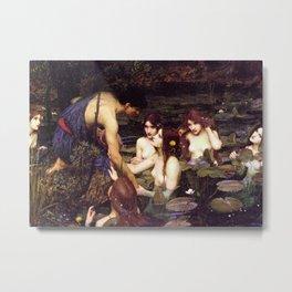 John William Waterhouse - Hylas and the Nymphs - 1896 Metal Print