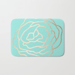 Flower in White Gold Sands on Tropical Sea Blue Bath Mat