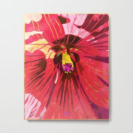 Red Hibiscus Flower Watercolor Portrait Metal Print