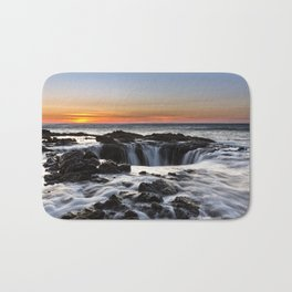 Thor's Well Sunset at Cape Perpetua, Oregon Bath Mat
