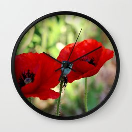 poppies in the summer Wall Clock