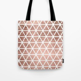 Geometric faux rose gold foil triangles pattern Tote Bag