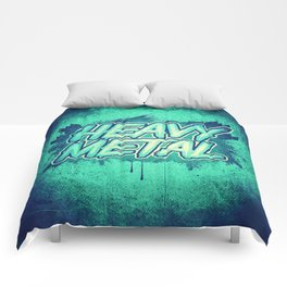 HEAVY METAL! ( Green Splatter Typo Design ) Comforters