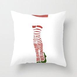 Miss Santa Legs Throw Pillow