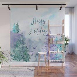 Watercolor Happy Holidays Winter Wonderland Wall Mural