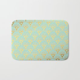 Art Deco Mermaid Scales Pattern on aqua turquoise with Gold foil effect Bath Mat