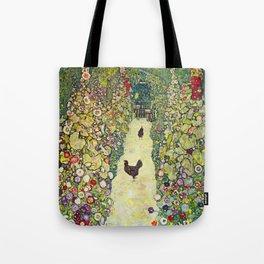 """Gustav Klimt """"Garden Path with Chickens"""" Tote Bag"""