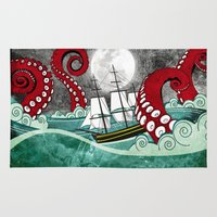 kraken Area & Throw Rugs featuring Kraken by Beth Naeyaert