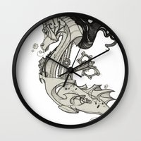 steam punk Wall Clocks featuring Steam Punk Horse  by FlyingFrogIllustration