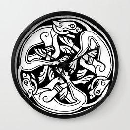 Celtic Art - Dog Triskele - on Red Wall Clock