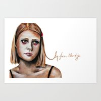 tenenbaum Art Prints featuring Margot Tenenbaum  by Bella Harris