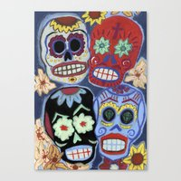 sugar skulls Canvas Prints featuring Sugar Skulls by Lucy Train