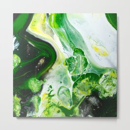 Green White Slime Abstract Painting Metal Print