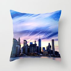 Romantic City Cityscape with Light Sunset and River Throw Pillow