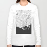 toronto Long Sleeve T-shirts featuring Toronto Map Gray by City Art Posters