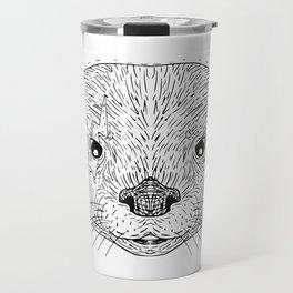 Asian Small Clawed Otter Black and White Mascot Travel Mug