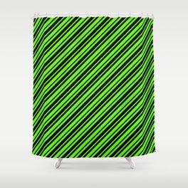 Bright Green and Black Diagonal RTL Var Size Stripes Shower Curtain