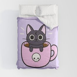 Pastel Coffee Cat | Nikury Comforters