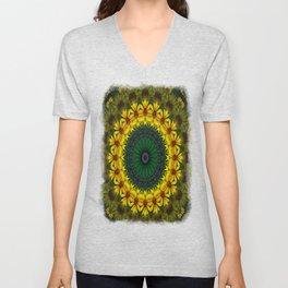 Large Yellow Wildflower Kaleidoscope Art 4 Unisex V-Neck