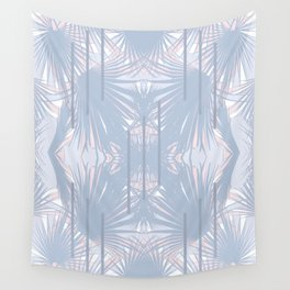 Tropical Art Deco Pattern - Pastel blue and pink Wall Tapestry