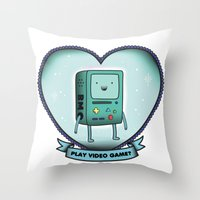bmo Throw Pillows featuring BMO by Breathedeep