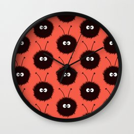 Red Cute Dazzled Bugs Pattern Wall Clock