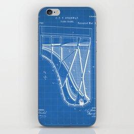Steinway Piano Patent - Piano Player Art - Blueprint iPhone Skin