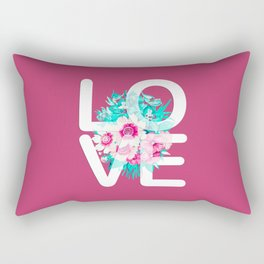 Elegant Floral Love Typography Rectangular Pillow