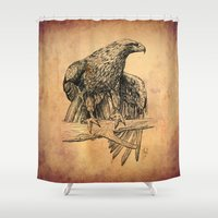 millenium falcon Shower Curtains featuring Falcon illustration by Thubakabra