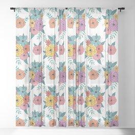 Gouache floral Sheer Curtain