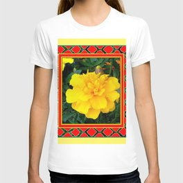 DECORATIVE TEAL-RED & YELLOW  MARIGOLD FLORAL T-shirt