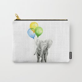 Elephant Watercolor Baby Animal with Balloons Blue Yellow Green Carry-All Pouch