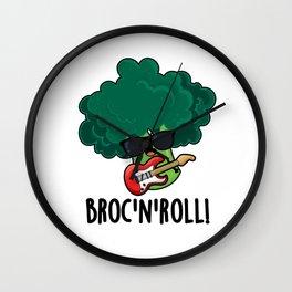 Brock And Roll Cute Broccoli Rock Pun Wall Clock