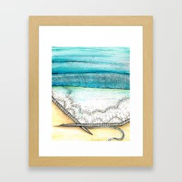 knitted seascape watercolor Framed Art Print