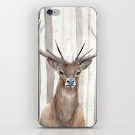"""Watercolor Painting of Picture """"Deer in Winter Forest"""" iPhone Skin"""