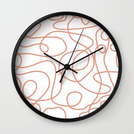 Doodle Line Art | Coral Lines on White Background Wall Clock