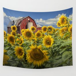 Golden Blooming Sunflowers with Red Barn Wall Tapestry