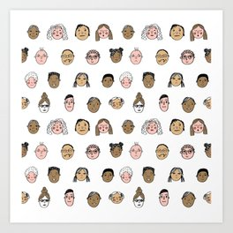 Faces people illustration hand drawn different people all shapes and sizes pattern Art Print