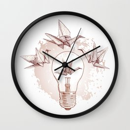 Origami paper cranes and light Wall Clock