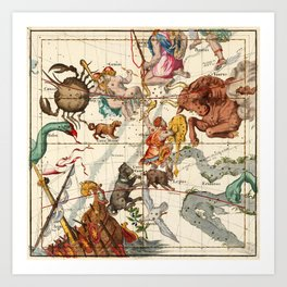 Gemini, Orion, Cancer, Taurus, Canis Major, Canis Minor And Other Constellations Art Print