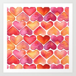 Oragne and Pink Watercolor Love Heart Pattern Art Print