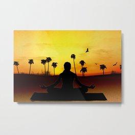 Yoga at sunrise Metal Print