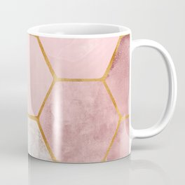 Pink and Gold Hexagon Print Coffee Mug