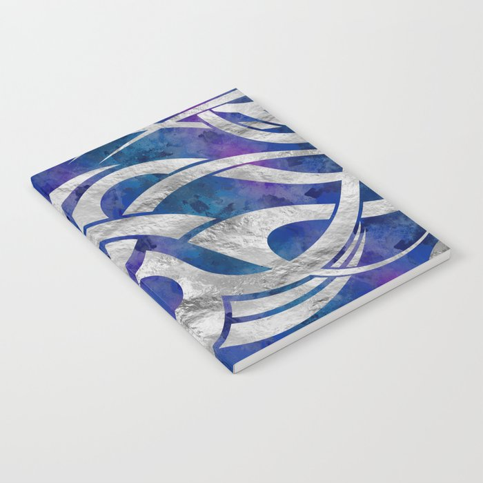 Abstract Maori Curve Shapes Silver Purple Notebook By K9printart