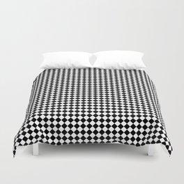 Classic Black & White Small Diamond Checker Board Pattern Duvet Cover