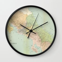 Vintage Map of Costa Rica (1889) Wall Clock