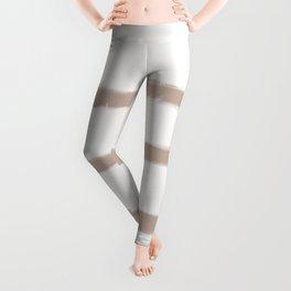 Medium Brush Strokes Horizontal  Nude on Off White Leggings