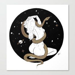 Space Goddess and the Golden Snake Canvas Print