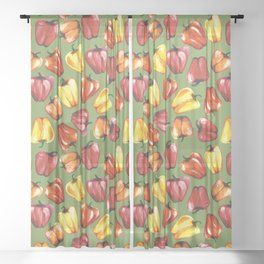Bell Peppers Pattern Sheer Curtain